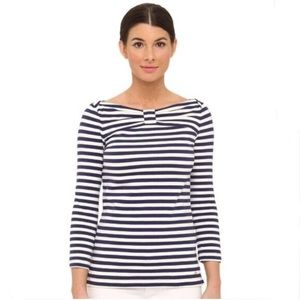 Kate Spade Striped Bow Stretch 3/4 sleeve Shirt LG